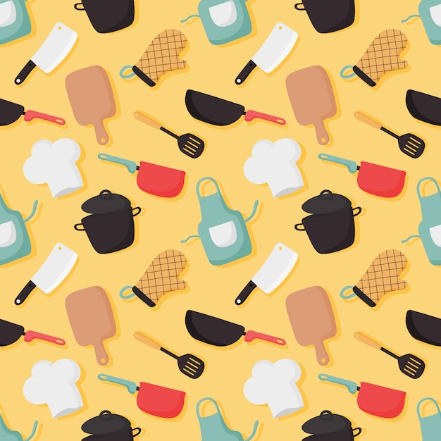 Cooking foods seamless pattern and kitchen icons set on yellow background. Premium Vector