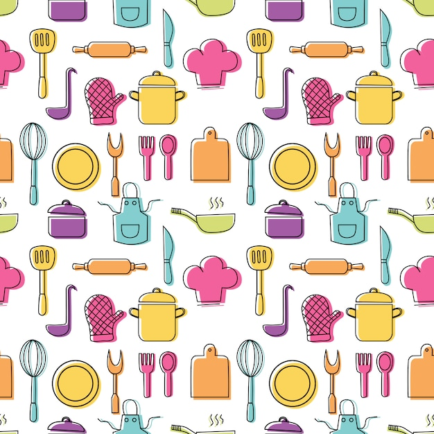 Cooking foods seamless pattern and kitchen outline colorful icons set on white background Premium Vector
