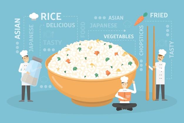 Готовим гигантскую миску для риса. Premium векторы