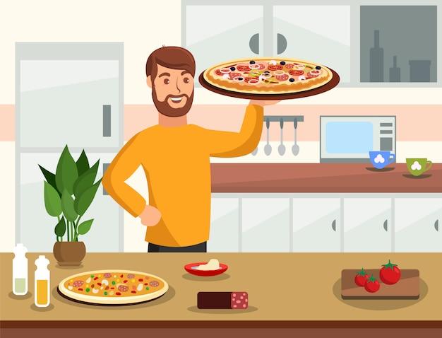 Cooking at home flat vector cartoon illustration Premium Vector