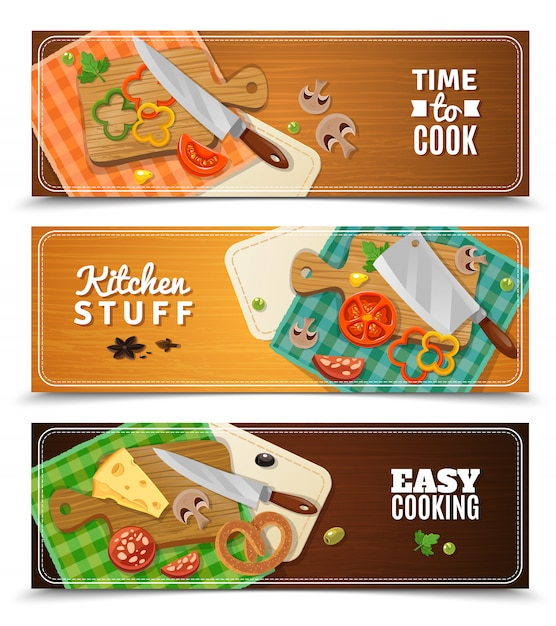 Cooking horizontal banners Free Vector