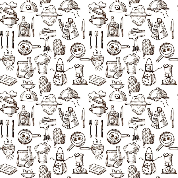 Cooking icons seamless pattern Free Vector
