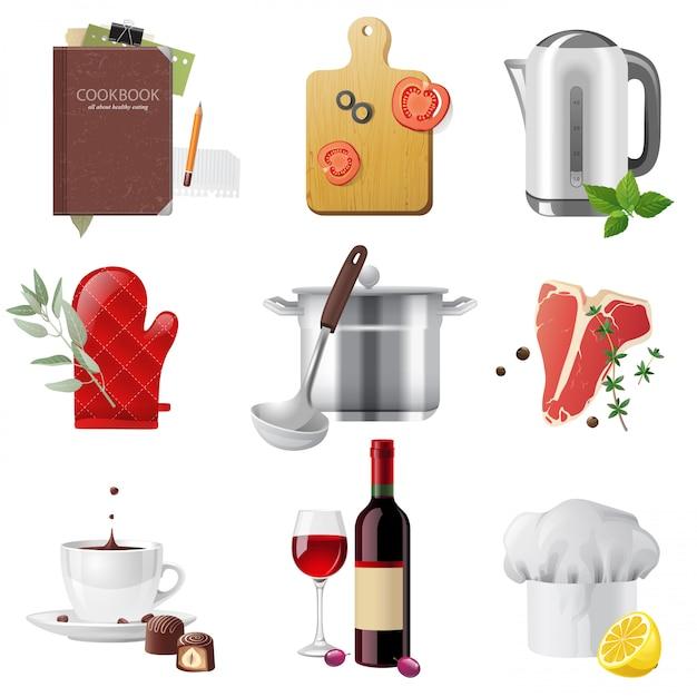 Cooking icons set Premium Vector