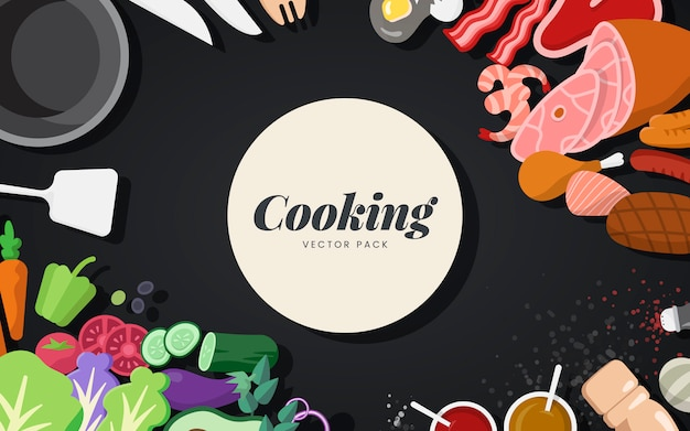 Cooking ingredients and tools vector set Free Vector
