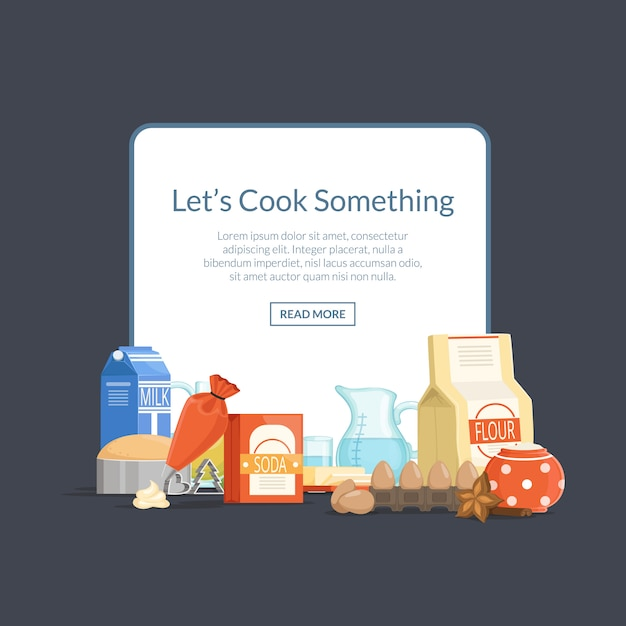 Cooking ingridients or groceries elements pile below frame with place for text Premium Vector
