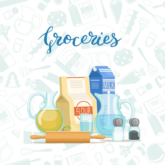 Cooking ingridients or groceries pile with lettering and monochrome flat style groceries Premium Vector