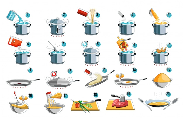 Cooking instruction. cook icon guide for food menu design with kithcen symbol. preparation instruction for boil and fry mix food from noodle and pasta to meat and vegetables. cooking prepare step set. Premium Vector