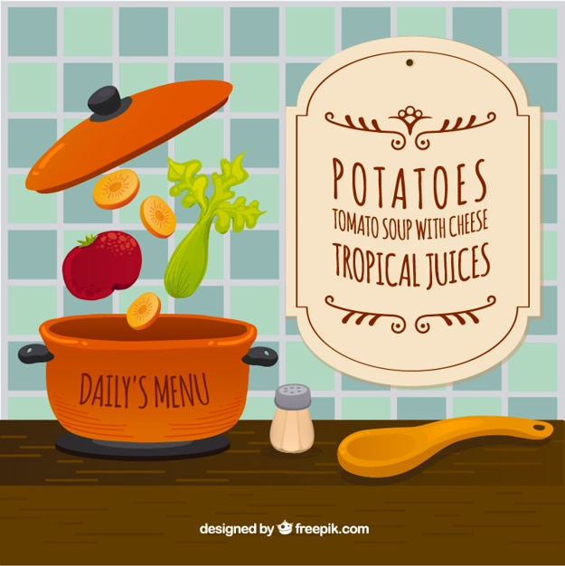 Cooking in the kitchen background Free Vector