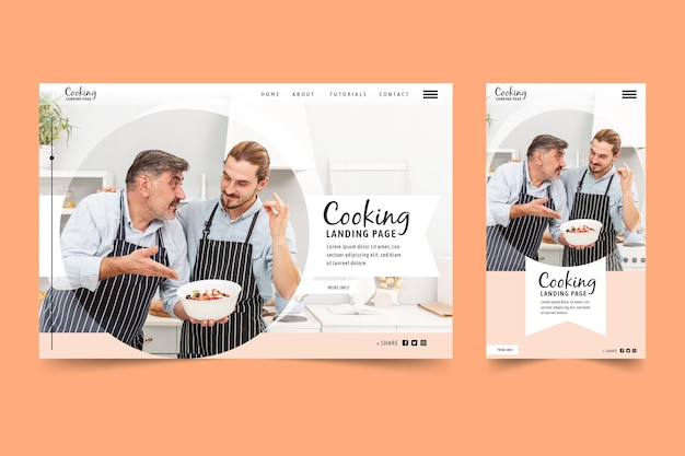 Cooking landing page template with photo Free Vector