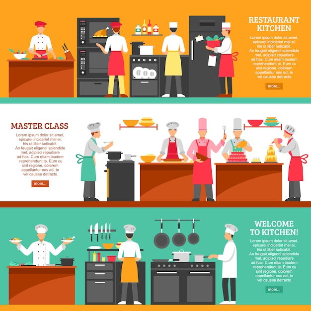 Cooking master class horizontal banners Free Vector