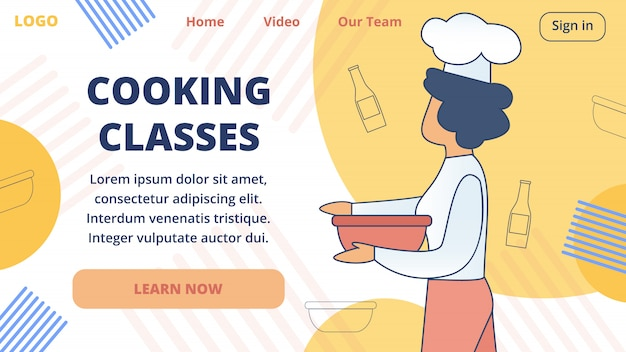 Cooking online classes vector website template Premium Vector