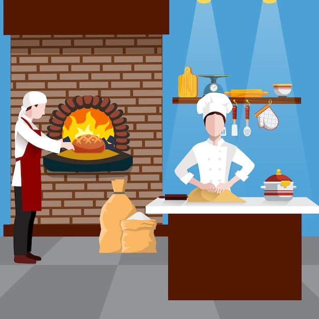Cooking people illustration Free Vector