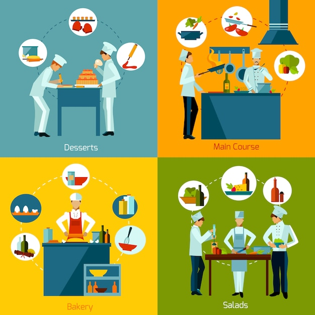 Cooking people set Free Vector