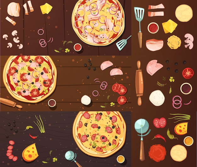 Cooking of pizza banners set Free Vector