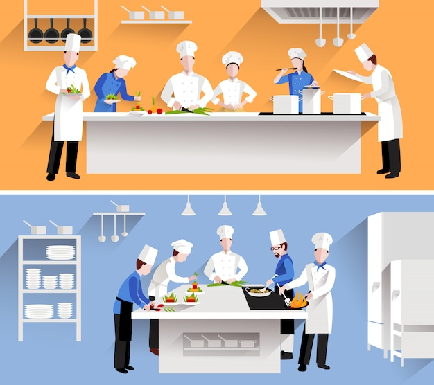 Cooking process illustration Free Vector