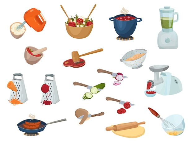 Cooking process set Free Vector