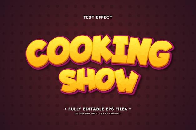 Кулинарное шоу текстовый эффект Бесплатные векторы