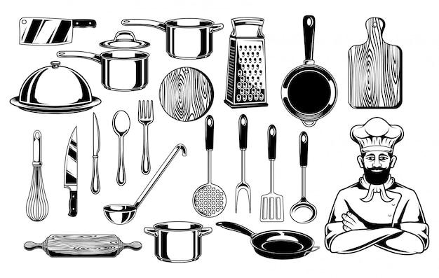 Cooking stuff vector set illustration Premium Vector