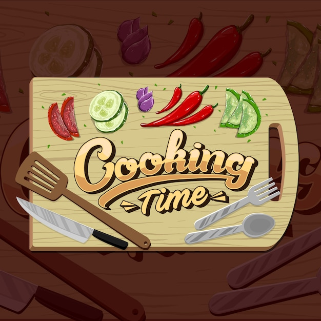 Cooking time and cooking set and vegetables. icons in  flat style Premium Vector