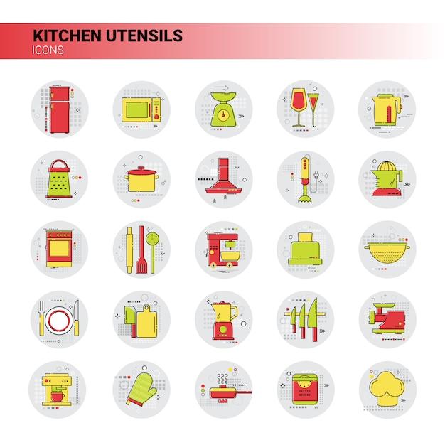 Cooking utensils kitchen equipment appliances set icon Premium Vector