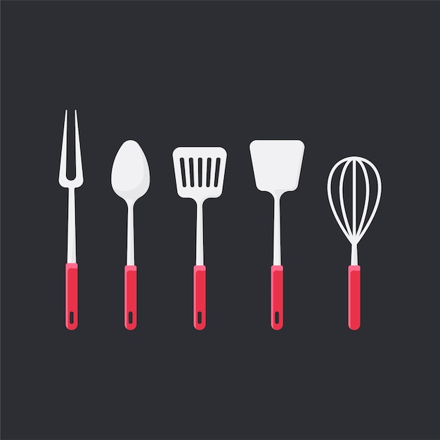 Cooking utensils set vector illustration Free Vector