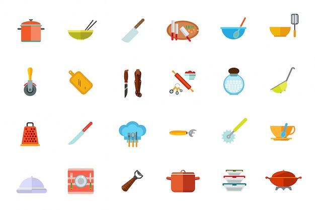 Cooking vessels, kitchen utensils icon set Free Vector