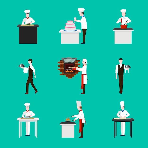 Приготовление пищи с набором иконок фигур шеф-повар. ужин в ресторане, торт и кухня Бесплатные векторы