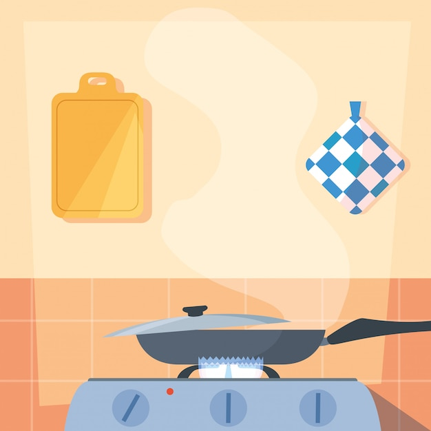 Cooking with pan of kitchen in stove Premium Vector