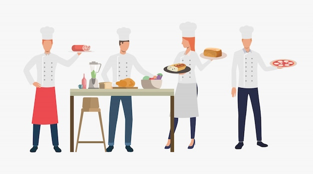 Cooks cooking dishes in restaurant kitchen Free Vector