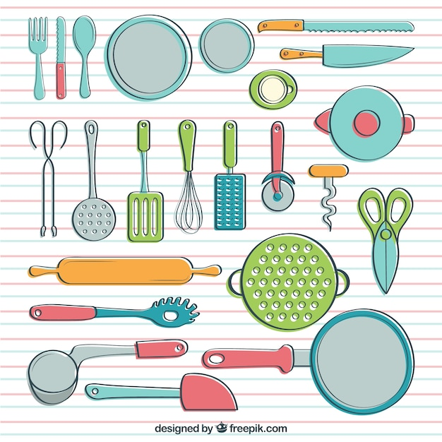 Cookware In Hand Drawn Style Vector Premium Download - Utensilios De ...