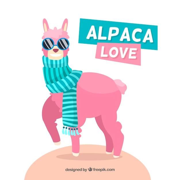 Cool alpaca background Free Vector