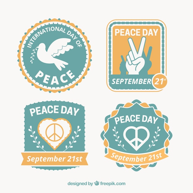 Cool and colorful badges for day of peace