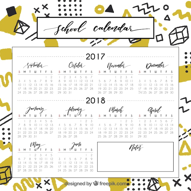 Cool and colorful school calendar