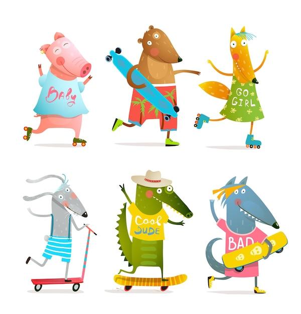 ローラーブレードとスケートボードまたはロングボードでスケートをするクールな動物。楽しい漫画のデザイン。 Premiumベクター