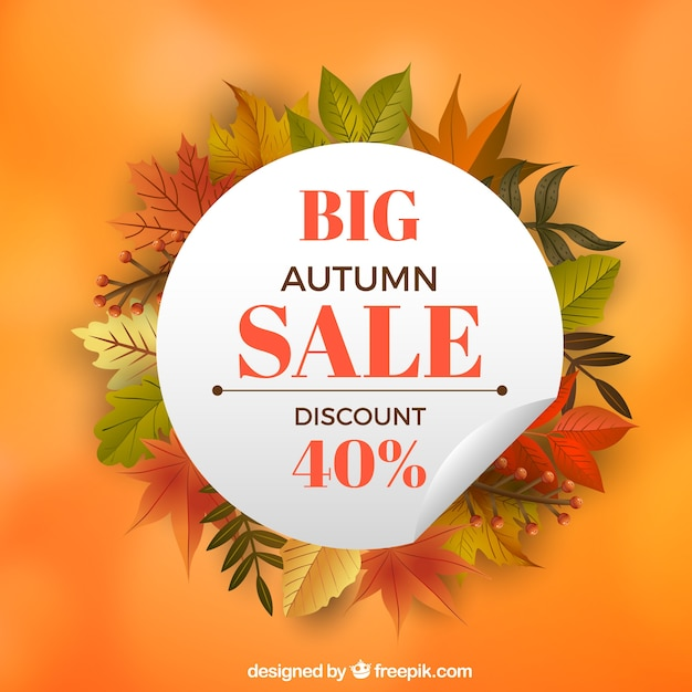 Cool autumn sale background with leaves