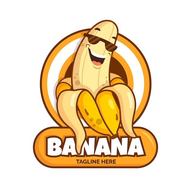 クールなバナナのキャラクターのロゴのテンプレート 無料ベクター