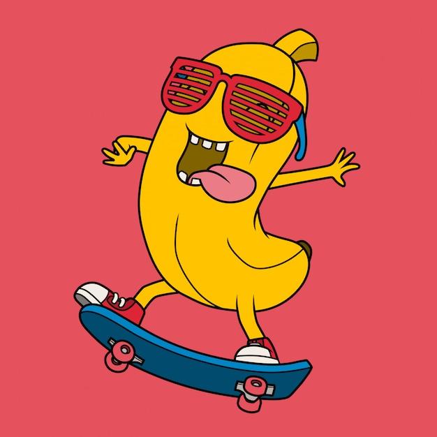 スケートボードをするクールなバナナ。 Premiumベクター