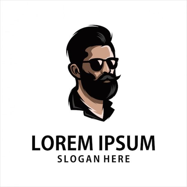 Cool beard man logo Premium Vector