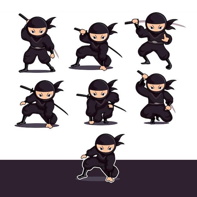 Прохладный черный мультфильм ниндзя с мечом готов к атаке Premium векторы