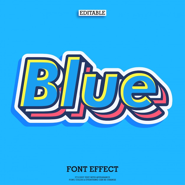 Cool blue layered typeface characte Premium Vector
