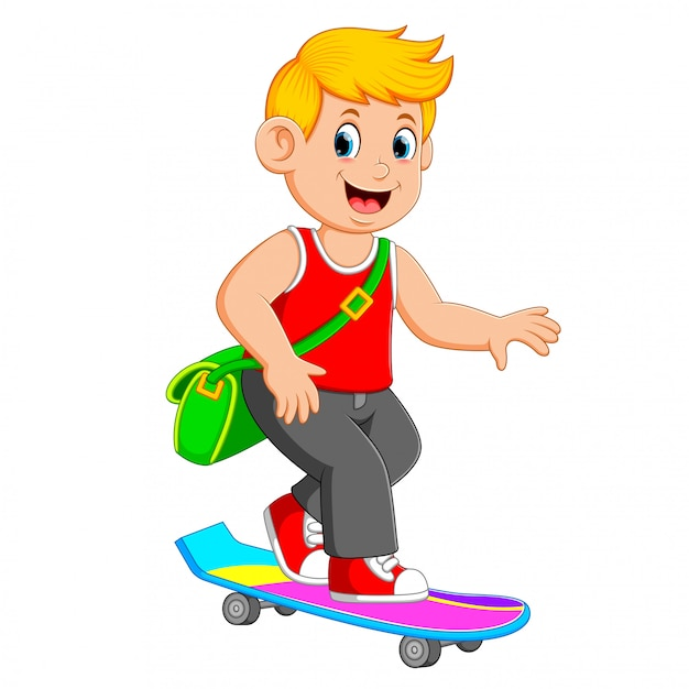 The cool boy are using the green bag and playing the skate board Premium Vector
