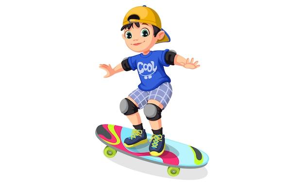 Ragazzo cool su skateboard Vettore gratuito