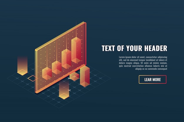 Cool business analytics concept, data visualization, 3d infographics Free Vector