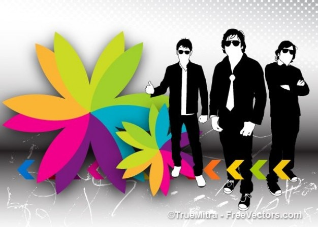 Cool businessmen silhouettes with colorful\ flower