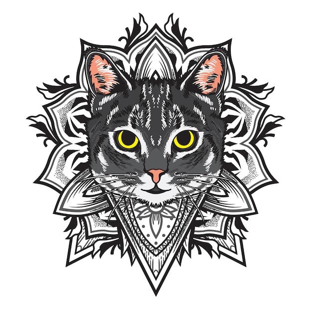 멋진 고양이 꽃 만다라 그림 프리미엄 벡터