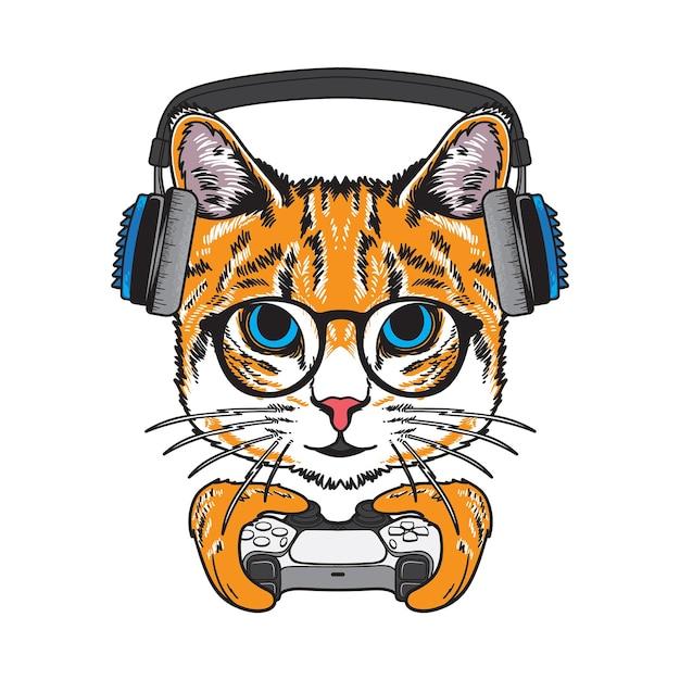 게임 컨트롤러 그림을 들고 멋진 고양이 프리미엄 벡터