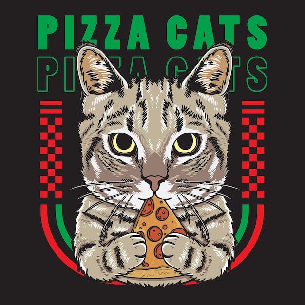 플랫 스타일의 멋진 고양이 지주 피자 그림 프리미엄 벡터