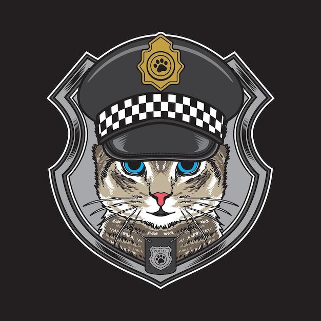 빈티지 경찰 모자 그림을 입고 멋진 고양이 프리미엄 벡터