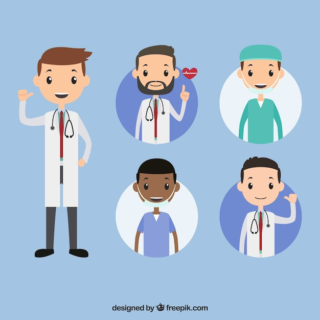 Cool collection of young doctors Free Vector