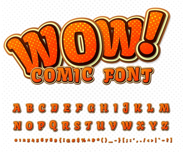 Cool comic font, kid's alphabet in style of comics book, pop art. multilayer funny orange letters and numbers Premium Vector